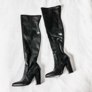 Shoes - Black Faux Leather Over The Knee Boots